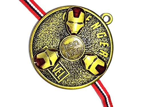 BICHE Rakshabandhan Special Iron Man Avengers Non Precious Metal Fidget Spinner Rakhi for Brother   Blue