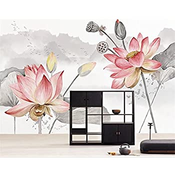 Image of Ai Ya-bihua 3D Wallpapers HD Hand Painted Ink Landscape Pond Background Wall Living Room Bedroom TV Mural Wallpaper for Walls 3 d Home and Kitchen