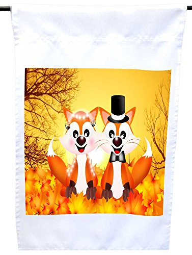Rikki Knight Red Foxes in Love Wedding Illustration House or Garden Flag, 12 x 18-Inch Flag Size with 11 x 11-Inch Image