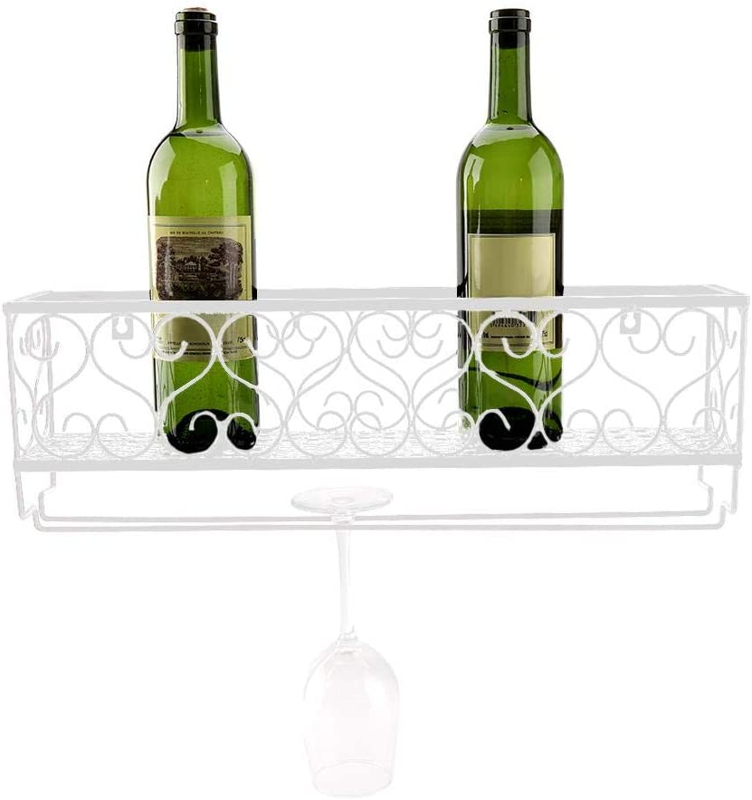 Metal Wall Hanging Mounted Wine Champagne Glass Goblets Stemware Rack Holder Wall Mounted Metal Wine Rack Storage Bar Accessory with Shelf for Home Kitchen,50 x 10 cm (White) White
