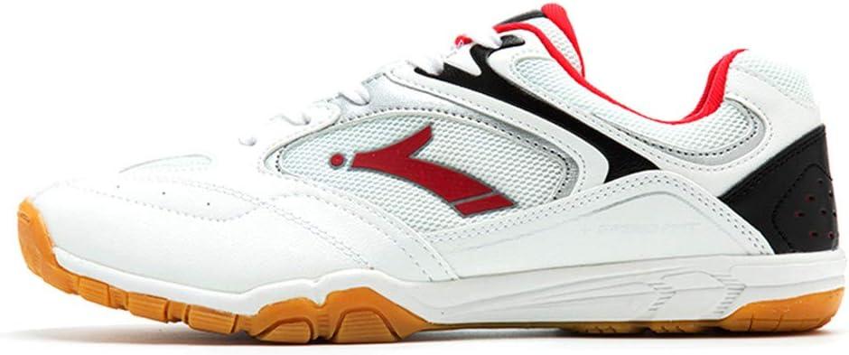 XFQ Mesa De Ping Pong Zapatos, Zapatos De Ping Pong Profesional De Entrenamiento Cubierta Zapatillas De Deporte De Alta Elasticidad Antideslizante Bádminton Zapatos De Moda,Rojo,41EU