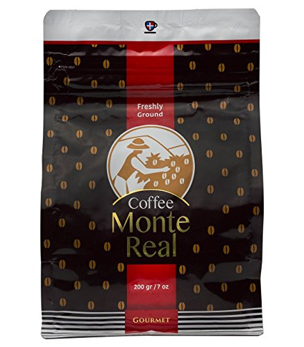 Monte Real Gourmet Arabica Coffee - Dominican Premium Ground Roasted w/delicious Dominican Cacao Flavor, 200 gr