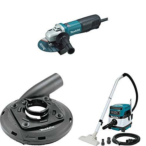 Makita 9566PC 6 inch SJS Paddle Switch Cut-Off/Angle Grinder, 195236-5 4-1/2 inch-5 inch Dust Extraction Surface Grinding Shroud, XCV04Z 18V X2 LXT (36V) 2.1 Gallon HEPA Filter Dry Dust Extractor/Vacuum