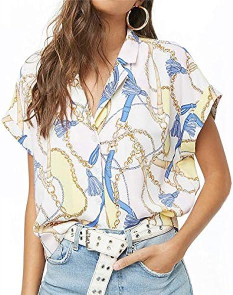 MOTOCO Mujer Camisa/Camiseta de Manga Corta Blusa con ...