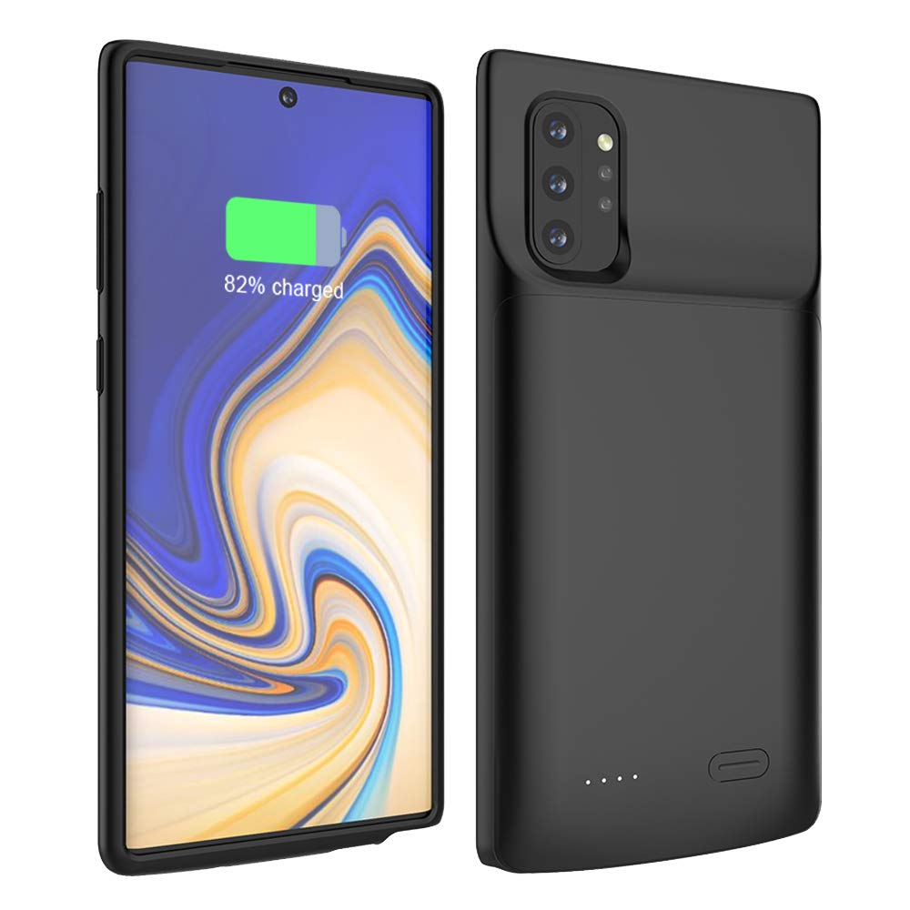 Compatible with Samsung Galaxy Note10 BasicStock 6000mAh Rechargeable Portable Extended Battery Backup Charger Case External Power Bank for Samsung Note 10 Plus 5G Battery Case Black
