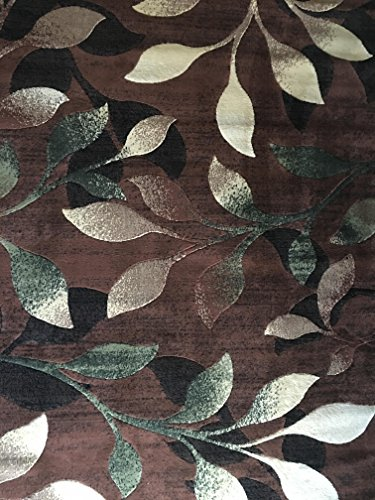 Beige Leaves - Lifestyle Modern Area Rug Brown Green Beige Leaf Vine Design 667 (5 Feet 2 Inch X 7 Feet 3 Inch)
