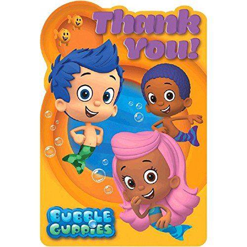 Amscan Aqua Awesome Bubble Guppies Birthday Party Postcard Thank You Cards, 6 x 4, Orange/Aqua Blue -