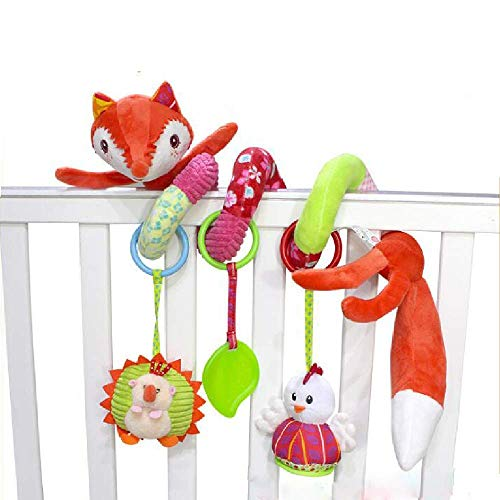 Hosim Cute Fox Design Infant Baby Around Crib Mobile Spiral Bed Bar Developmental Plush Animal Soft Toy Kids Stroller and Travel Activity Toy with Safety Mirror