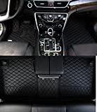 Worth-Mats Custom Fit Luxury XPE Leather Waterproof Floor Mat for Jaguar F-pace 2017 2018 (Black with Black stitching)