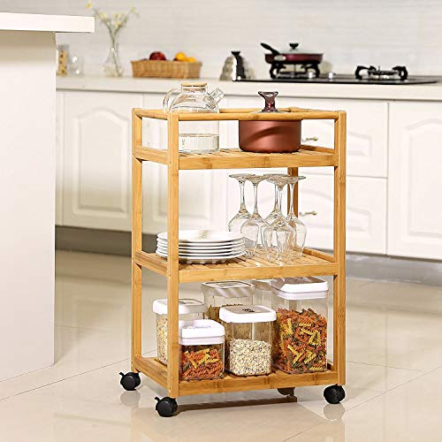 Trustiwood Bathroom Storage Cart Serving Bar Cart Utility Trolley Organizer Rack with 3 Shelves and Locking Wheels for Kitchen Living Room Bamboo Wood by Trustiwood (Image #1)