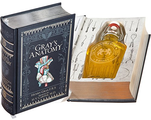 Flask Hollow Book - Gray's Anatomy (Leather-bound) (Magnetic Closure) (Custom-Etched)