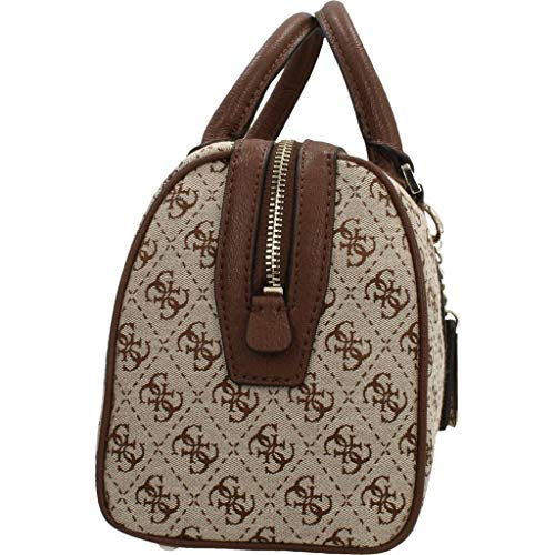Bs19gu53 Bauletto Donna Borsa Guess Vintage Satchel Box Marrone Tessuto Beige ecopelle white wvfvq6Ax