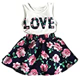 Little Girls Letter Love Flower Clothing Sets Summer Top and Skirt Kids 2pcs Outfits