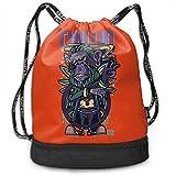 Men Women Lightweight Multi-Functional Bundle Pocket Backpack Chillin Apes Travel Bag For Sports Shopping Travel Black
