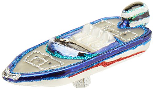 Boat Ornament - Old World Christmas Bass Boat Glass Blown Ornament