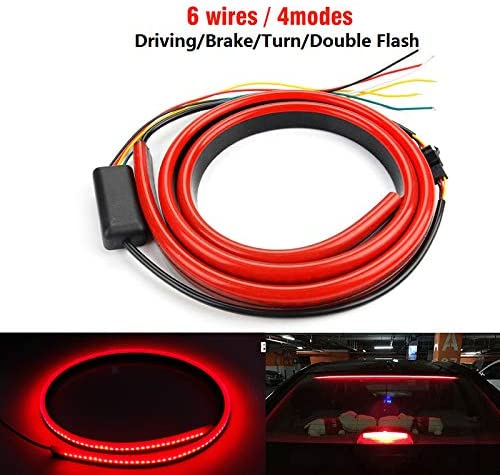 1-Set 100CM 12V Flexible Red 90//100cm Car Additional LED Brake Light Car Third Brake Light With Driving Turn Signal Warning Stop Lamp 39.4 JAVR