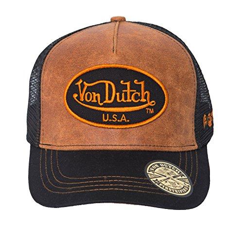 Von Dutch Men's USA Leather Trucker Hat-One Size Brown/Black