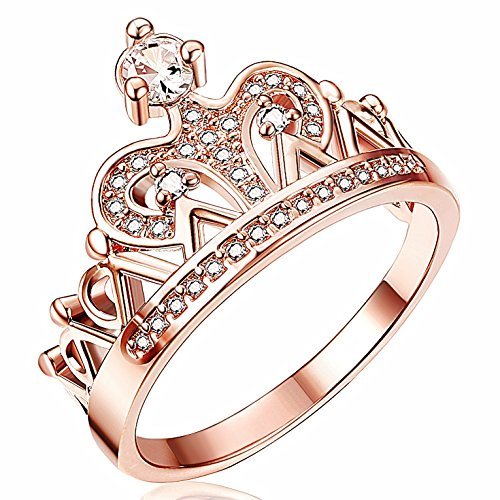 Gold Tone Crown (Thunaraz Rose Gold Tone Princess Crown Ring for Girls CZ Band Rings for Women 5)