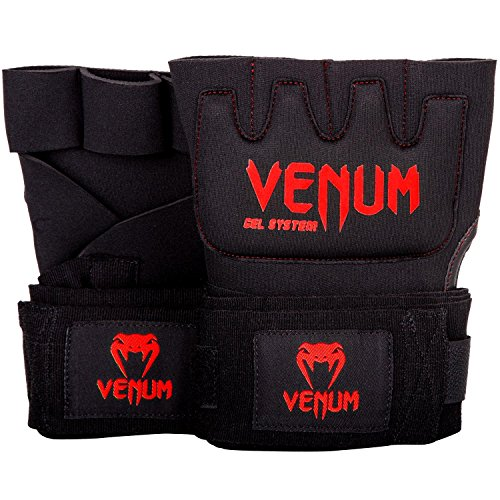 Venum Kontact Gel Glove Wraps - Black/Red, One (Leather Wrap Mma Gloves)