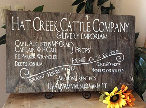 - Adonis554Dan Lonesome Dove Hat Creek Cattle Company Western Wood Sign Western Home Decor Man cave Rustic Decor Wood Sign Cowboy Wood Sign Ranch Sign