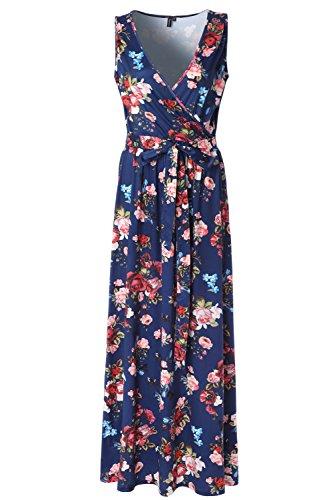k Sleeveless Empire Waist Floral Maxi Dress … (Small, Blue Printed) ()