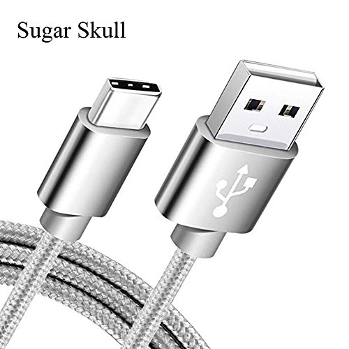 Sugar Skull USB Type C Cable, 6.6 FT USB C to USB A Fast Charger Nylon Braided Sync Cord for Samsung Galaxy S9 S8 Note 8, LG V20 G5, Google Pixel, Moto Z, Macbook and More - Silver from Sugar Skull
