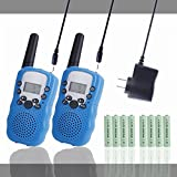 Kids Walkie Talkies Rechargeable Long Range 2 Pack for Kids Children Walky Talky Walkie Talkie 2 Way Radios Wireless with Rechargeable Batteries and Charger (Blue)