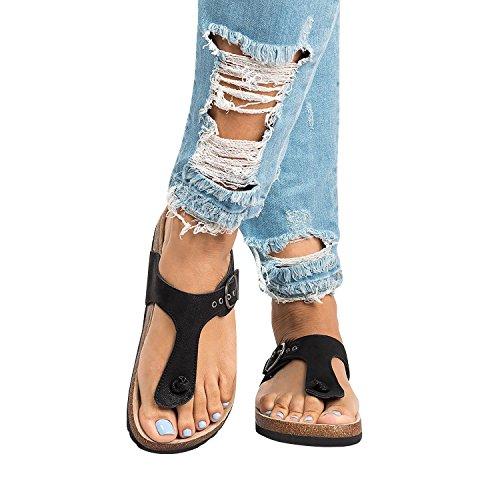 Womens Thong T Strap Slip on Platform Buckle Strap Cork Beach Flat Flip Flops (Buckle Thong Sandal)