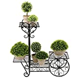Victorian Style Black Metal Plant Stand Cart with 4 Display Shelves and Scrollwork Design – MyGift Review