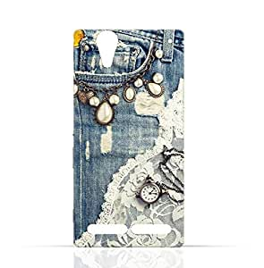 Sony Experia Z1 Compact TPU Silicone Case with Modern Jeans Pattern