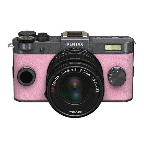 Pentax Q-S1 Mirrorless Digital Camera with 5-15mm Zoom Lens, Shake Reduction, 3-inch LCD Monitor, 5 FPS, Full 1080p h.264 HD video - Gunmetal / Pale Pink