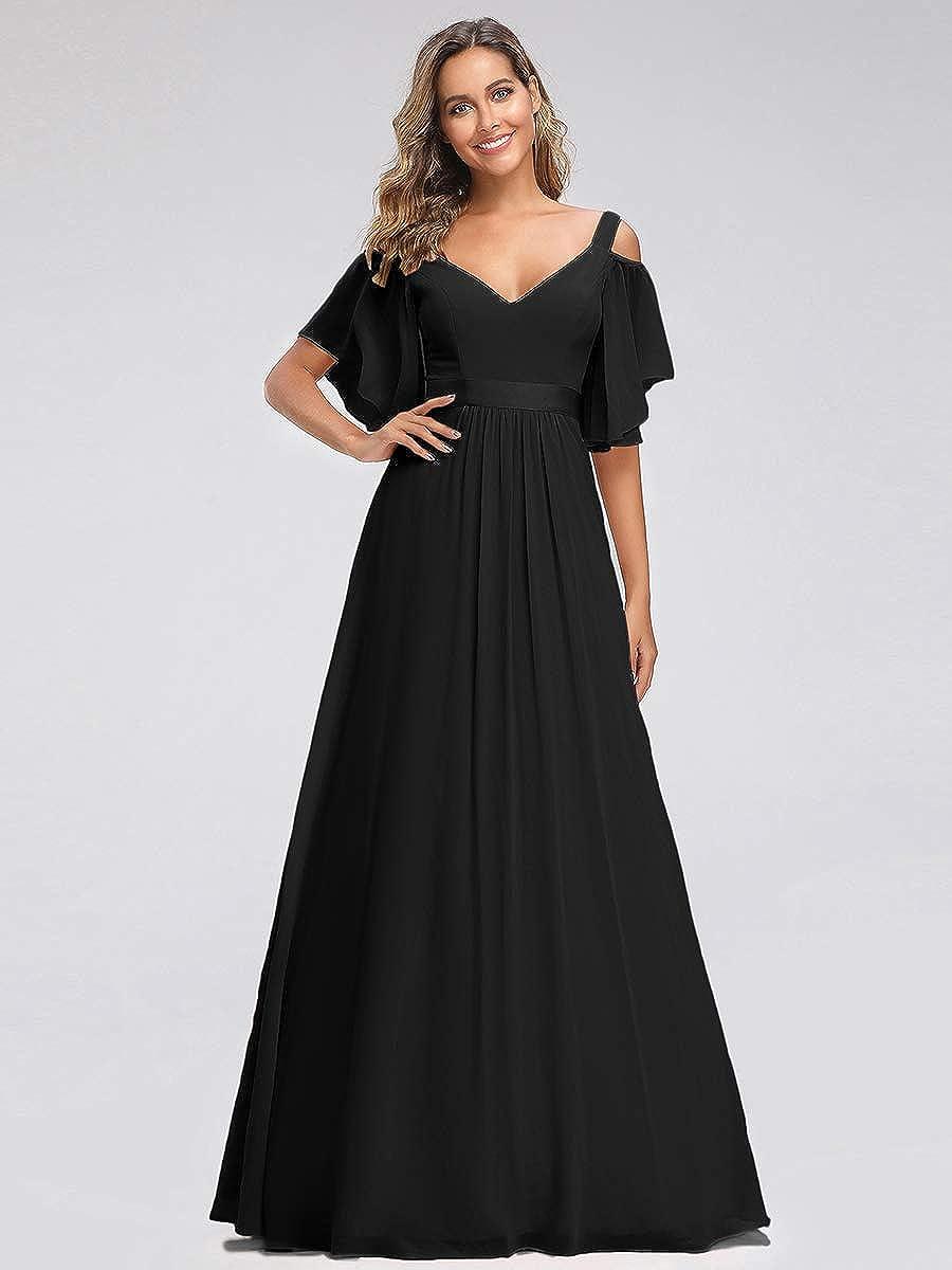 Ever-Pretty Womens Cold Shoulder with Short Sleeve V Neck Empire A Line Chiffon Long Bridesmaid Dresses 07871