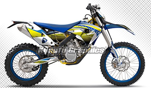 Kungfu Graphics Custom Decal Kit for Husaberg FE 390 450 570 2009 2010 2011 2012, Blue White Yellow