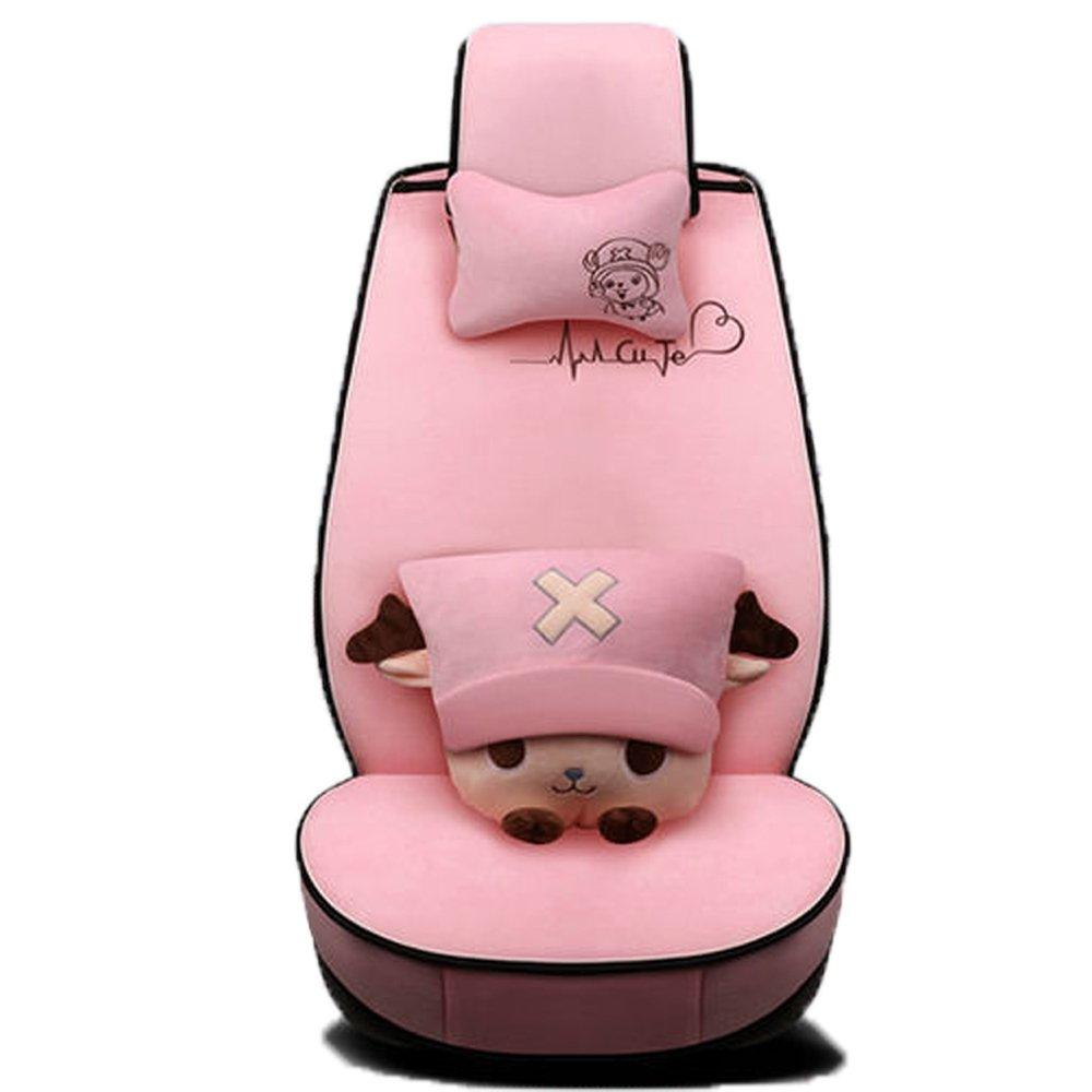 Binglinghua Cute Cartoon 3D Universal Car Seat Cover Set Warm Breathable Silk Fabric Car Seat Covers 5 Seats 1 Set Car Seat Cushion Pillows As Gift (pink)