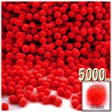 The Crafts Outlet Polyester Pom Poms, solid Color, 5mm/0.20-inch, 5000-pc, Red