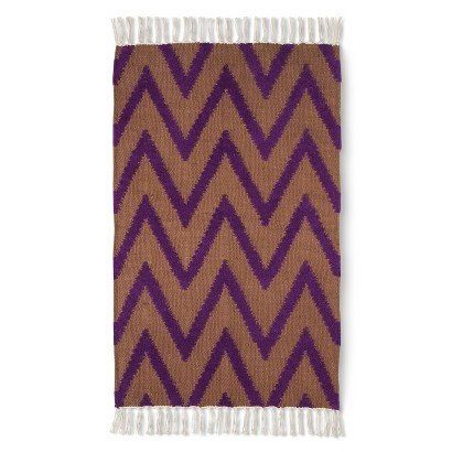 Nate berkus 24 x 36 accent rug chevron purple tan for for Rugs with purple accents
