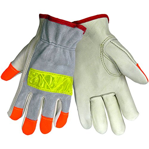 Global Glove 3200HV Cow Grain Leather Premium Grade High Visibility Driver Glove, Work, Extra Large, Orange/Yellow (Case of 72) -
