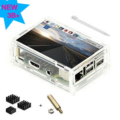 Pantalla táctil de 3,5 pulgadas TFT LCD pantalla con protector caja de acrílico para Raspberry Pi 3 B+ [3 x disipador de calor de aluminio, CD con sistema instalado, lápiz capacitivo]