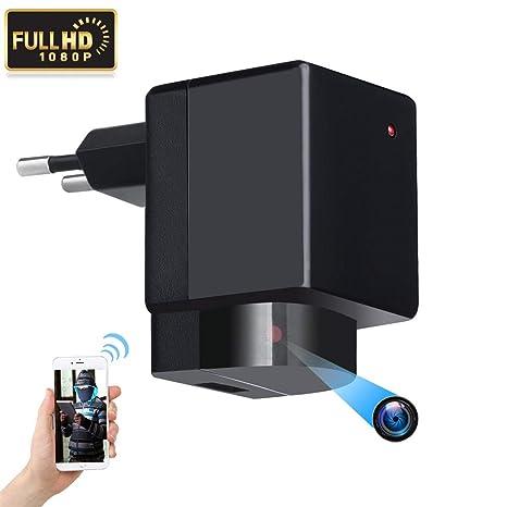 Cámara espía Oculta – 1080P WiFi HD EU Plug Adaptador PTZ® 180° Lente Rotación