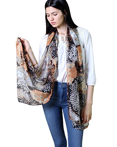 Anika Dali Women's Rachel Animal Print Natural Silk Scarf, (Animal Print Silk Dress)