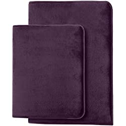 Clara Clark Non Slip Memory Foam Tub-Shower Bath Rug Set, Includes 1 Small Size 17 x 24 in. 1 Large Size 20 X 32 in. - Dark Purple