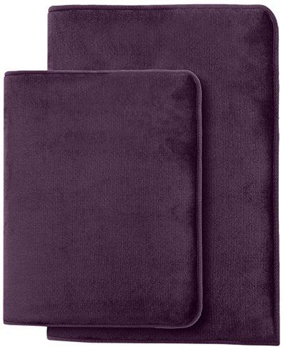 Clara Clark Non Slip Memory Foam Tub-Shower Bath Rug Set, Includes 1 Small Size 17 x 24 in. 1 Large Size 20 X 32 in. – Dark Purple