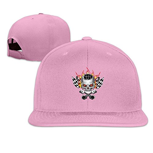 MaNeg Skull Is Setting Fire Unisex Fashion Cool Adjustable Snapback Baseball Cap Hat One Size Pink