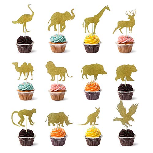(Joinor 24pcs Big Size Gold Glitter Animal Cupcake Toppers Picks Cake Decorations for Animal Theme Party Baby Shower Birthday Party)