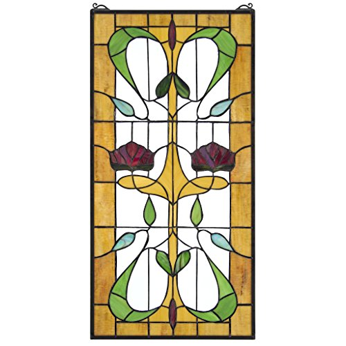 Stained Glass Panel - Ruskin Rose Two Flower Stained Glass Window Hangings - Window Treatments Art Nouveau Stained Glass