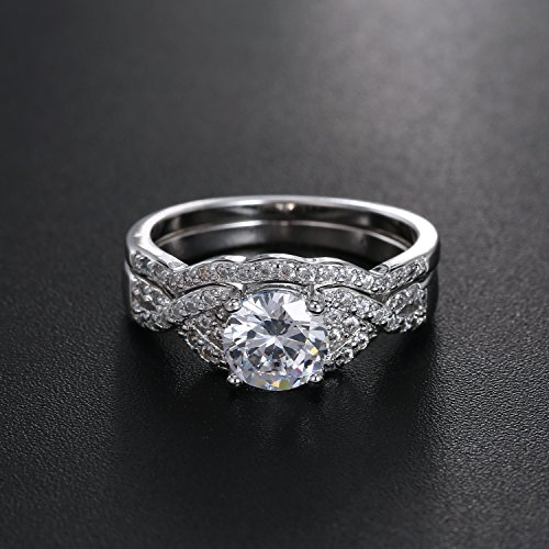 Diamond Cut Infinity Band Rings - Round Radiant Cubic Zirconia Women Wedding Band Ring Set Size 6-9 (11) by Hiyong (Image #5)