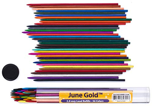 June Gold 36 Assorted Colored Lead Refills, 2.0 mm Extra Bold, 90 mm Tall, Pre-Sharpened, Break & Smudge Resistant