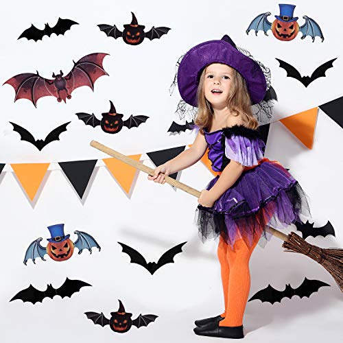 Halloween 3D Bats Stickers, Spooky Halloween Stickers, Trick or Treat Themed Pumpkin Ghost Bat Stickers for Halloween DIY Home Window Decoration - 24 PCS