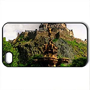 Castle On Top - Case Cover for iPhone 4 and 4s (Ancient Series, Watercolor style, Black)