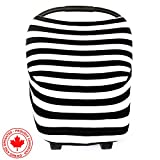Chubbi Baby Stretchy Baby Car Seat Canopy Ultrasoft Multi-Uses | Nursing Cover | High Chair Cover | Shopping Cart Cover | Infinity Scarf with Bonus Matching Pouch by Chubbi Baby (Black Stripes)